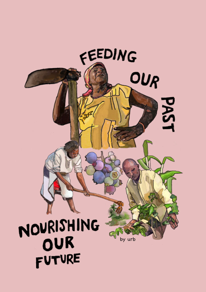 """Podcast cover art. A drawing of three people farming against a light pink background. First figure is a black femme wearing a yellow top and holding a pickaxe. To the left of her is a person plowing land with a hoe, they are wearing a white top and pants. To the right of them is a masculine farmer, who is digging up a green plant. They are wearing yellow and have no hair on their head. In the middle of both figures is a stalk of blue and green berries. """"Feeding Our Past, Nourishing Our Future"""" is written in black bloc letters."""